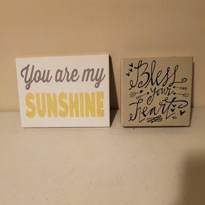 SET of 2 decorative signs